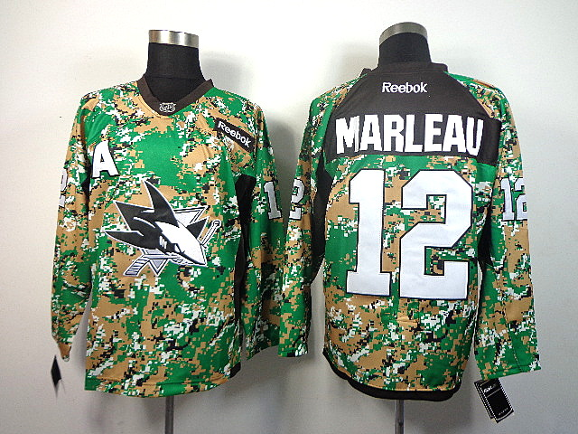 Men's San Jose Sharks Patrick Marleau #12 Green Camo Jersey