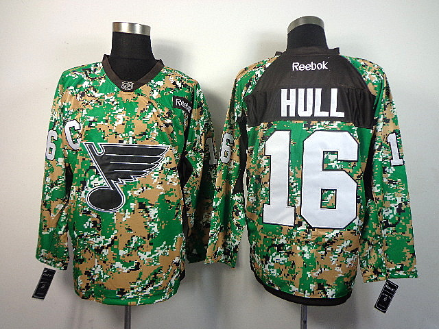 Men's St. Louis Blues Brett Hull #16 Green Camo Jersey