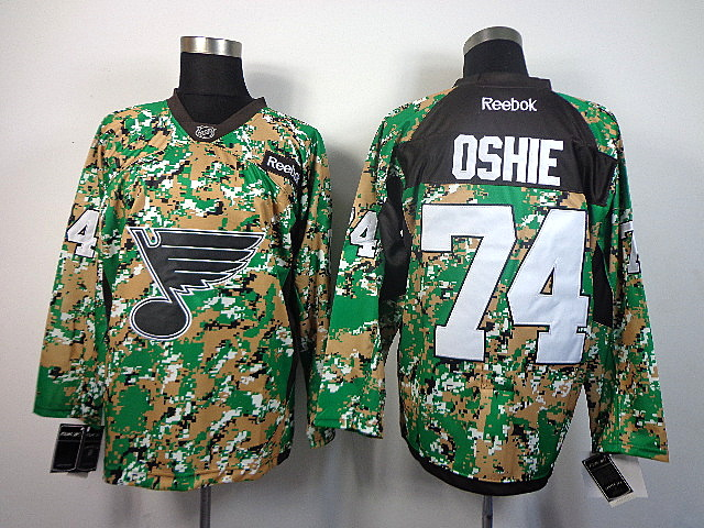 Men's St. Louis Blues T.J. Oshie #74 Green Camo Jersey