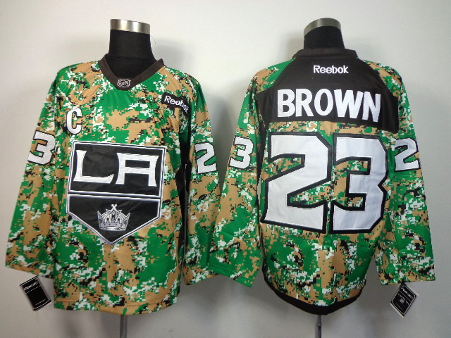 NHL Los Angeles Kings 23 Brown green camo jerseys
