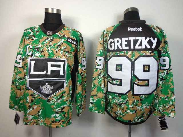 NHL Los Angeles Kings 99 Gretzky green camo jerseys