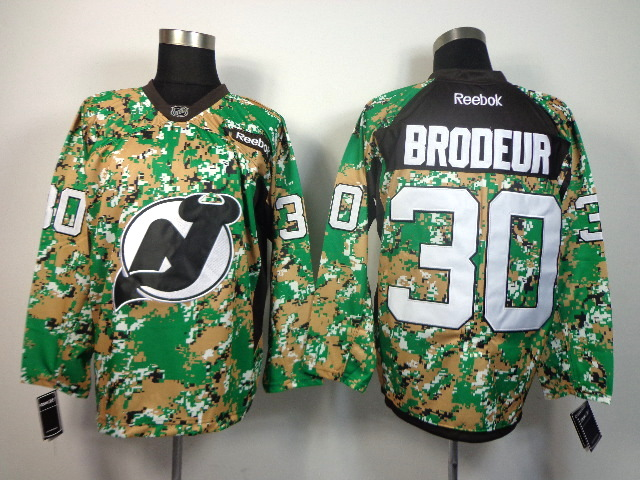 NHL New Jersey devils 30 Brodeur green camo jerseys