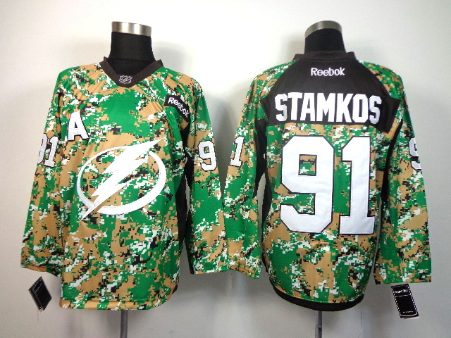 NHL Tampa Bay Lightning 91 Steven Stamkos green camo Jersey
