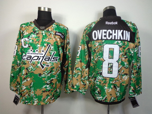 NHL Washington Capitals 8 OVECHKIN green camo jerseys