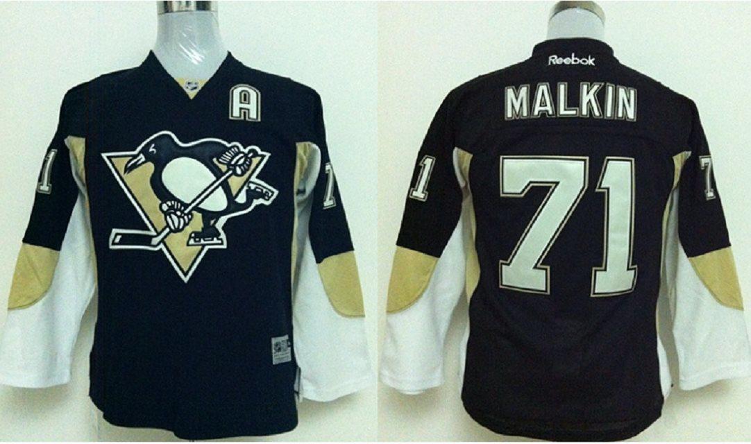 Youth Pittsburgh Penguins #71 Evgeni Malkin Black