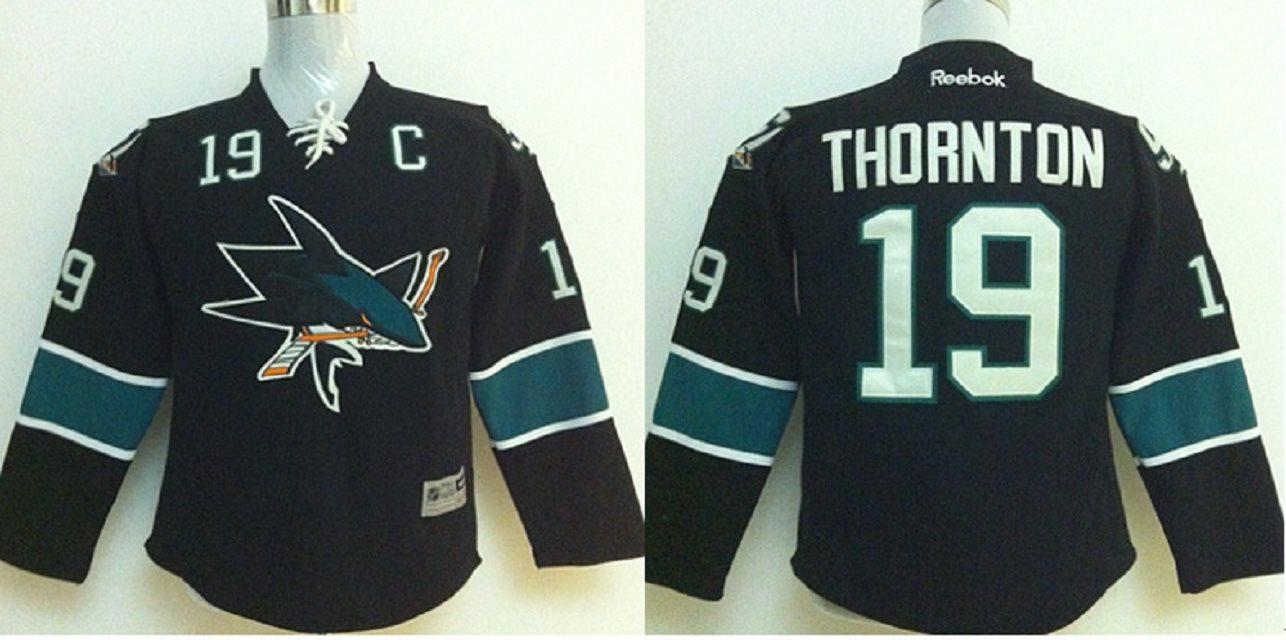Youth San Jose Sharks #19 Joe Thornton Black