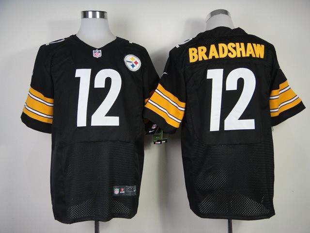 NFL Nike Elite Pittsburgh Steelers #12 Terry Bradshaw Black throwback jerseys