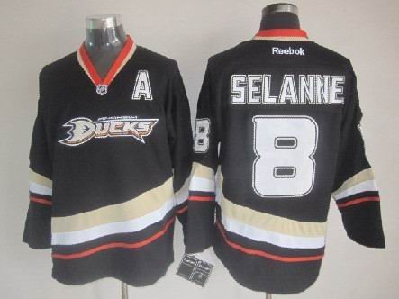 Anaheim Ducks #8 Teemu Selanne Black jerseys