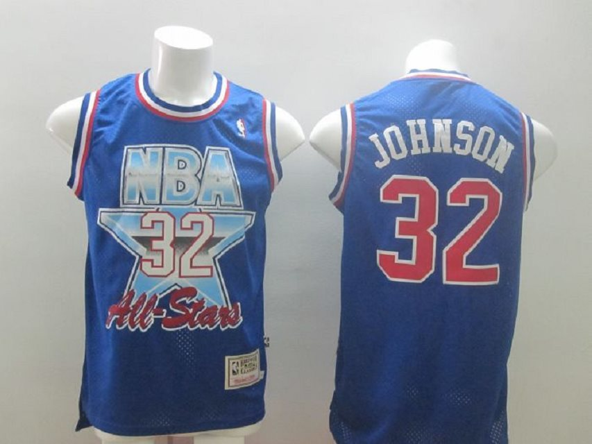 Los Angeles Lakers 32 Magic Johnson All Star blue M&N NBA Jerseys