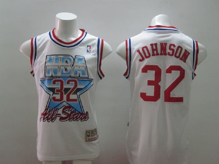 Los Angeles Lakers 32 Magic Johnson All Star White M&N NBA Jerseys
