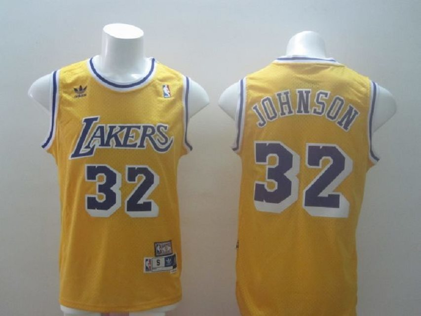 NBA Los Angeles Lakers 32 Magic Johnson Swingman yellow jerseys