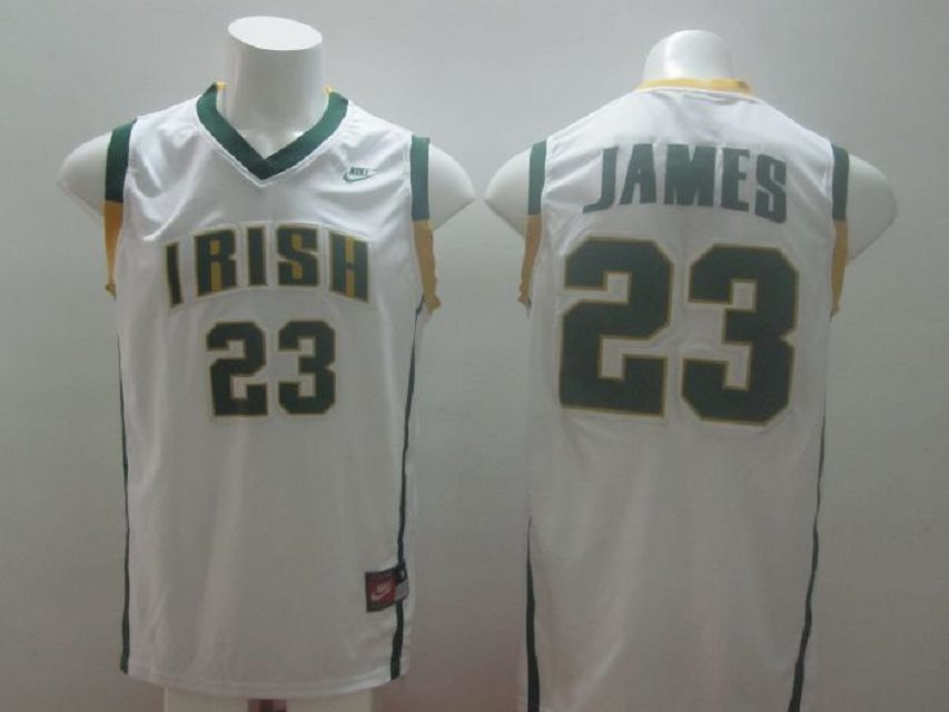 Irish High School 23 Lebron James White Baskteball Jerseys