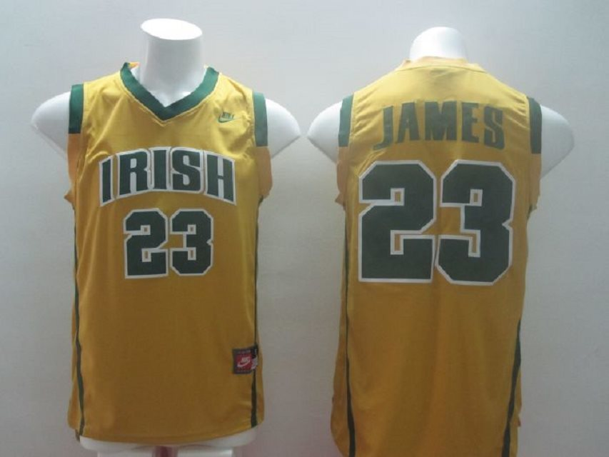 Irish High School 23 Lebron James yellow Baskteball Jerseys