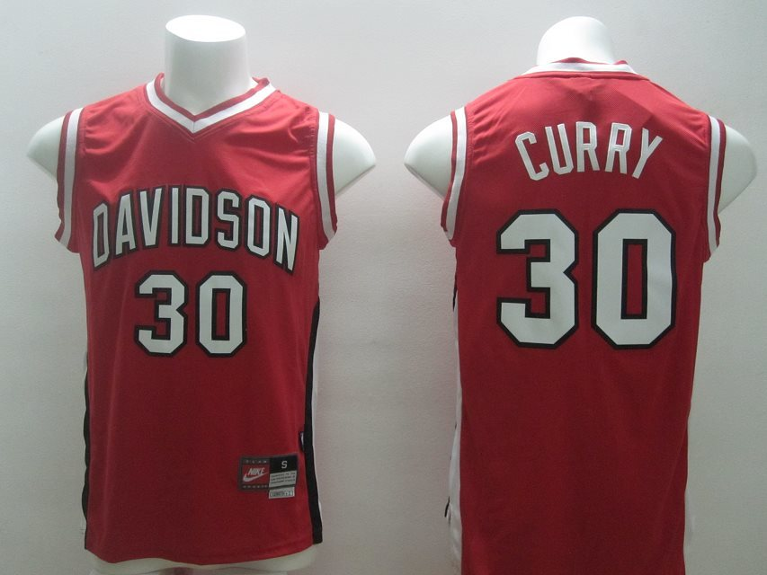 Golden State Warriors #30 Stephen Curry Davidson Red