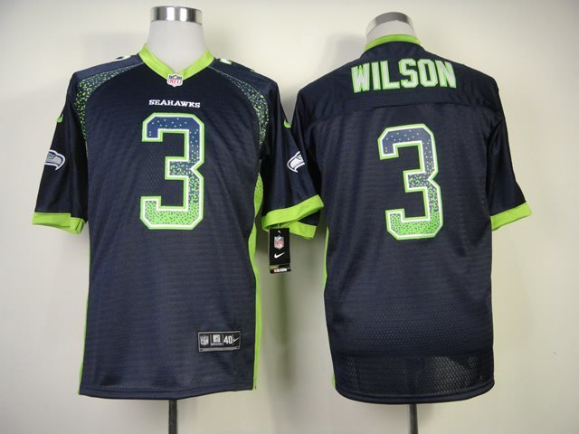 New Nike Seattle Seahawks 3 Wilson Drift Fashion Blue Elite Jerseys