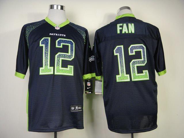 New Nike Seattle Seahawks 12 Fan Drift Fashion Blue Elite Jerseys