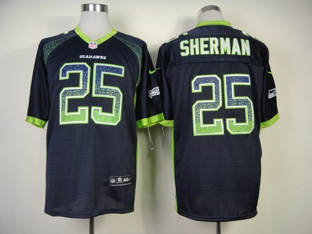 New Nike Seattle Seahawks 25 Sherman Drift Fashion Blue Elite Jerseys