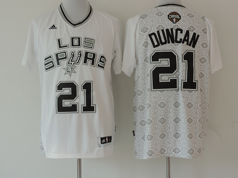2014 NBA San Antonio Spurs #21 Tim Duncan white jerseys