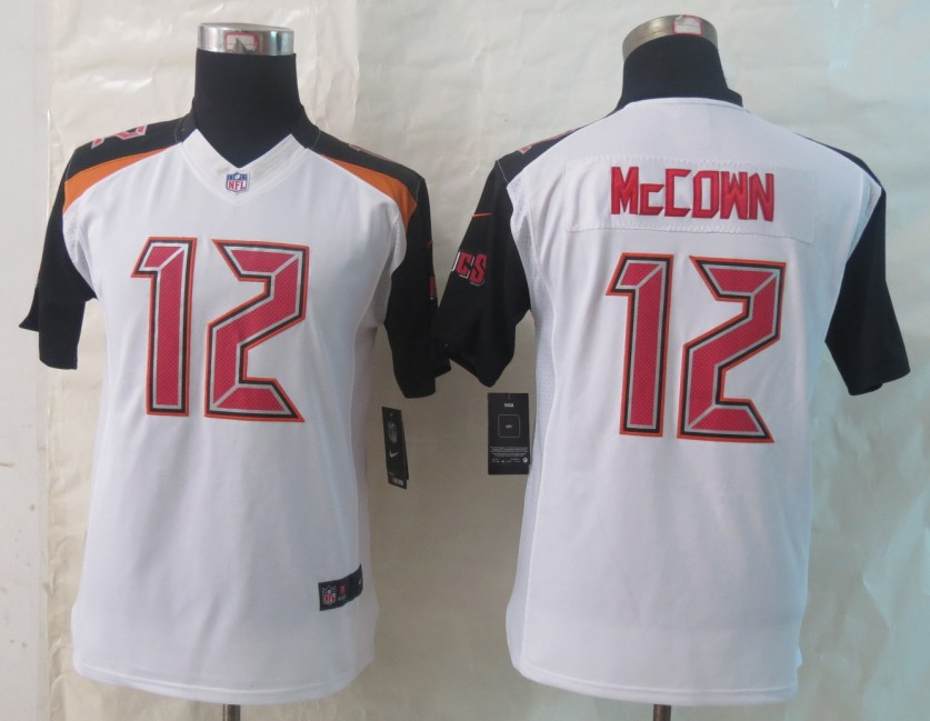 Youth 2014 New Nike Tampa Bay Buccaneers 12 McCown White Limited Jerseys