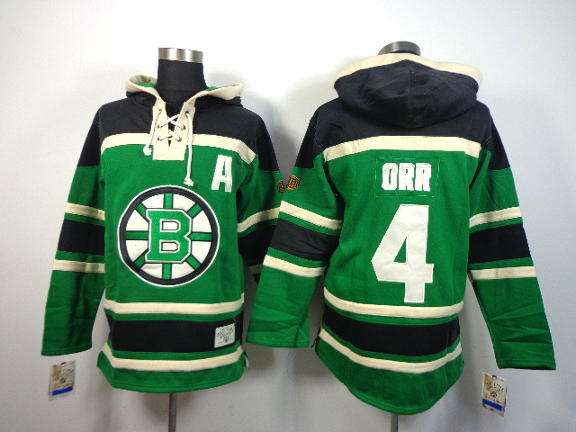 NHL Boston Bruins 4 Bobby Orr Green Sawyer Lace Up Pullover Hooded Sweatshirt