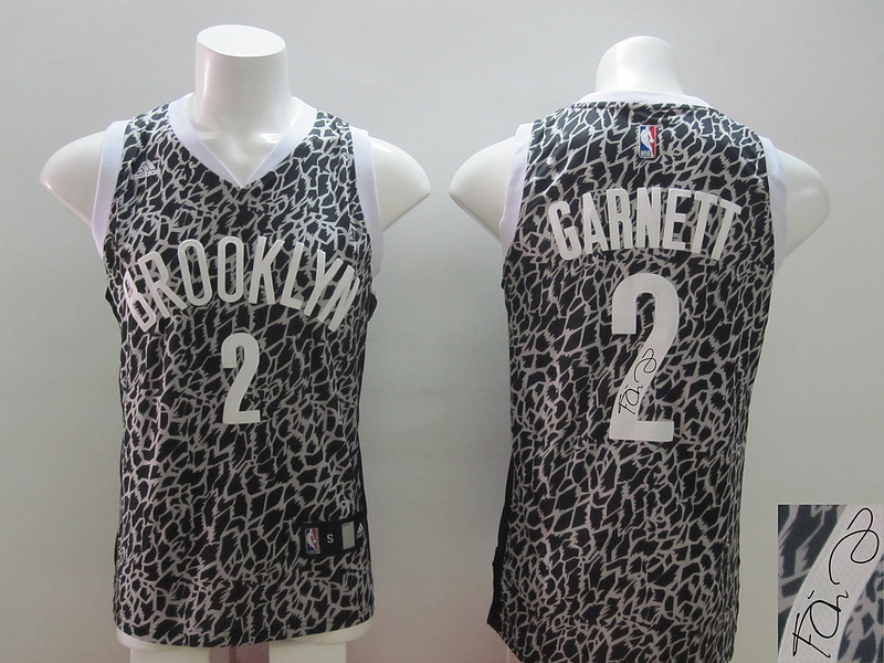 NBA Brooklyn Nets 2 Kevin Garnett Black Crazy Light Swingman With player signed Jersey