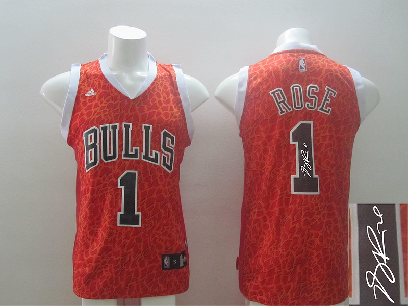 NBA Chicago Bulls 1 Derrick Rose Red Crazy Light Swingman With player signed Jersey