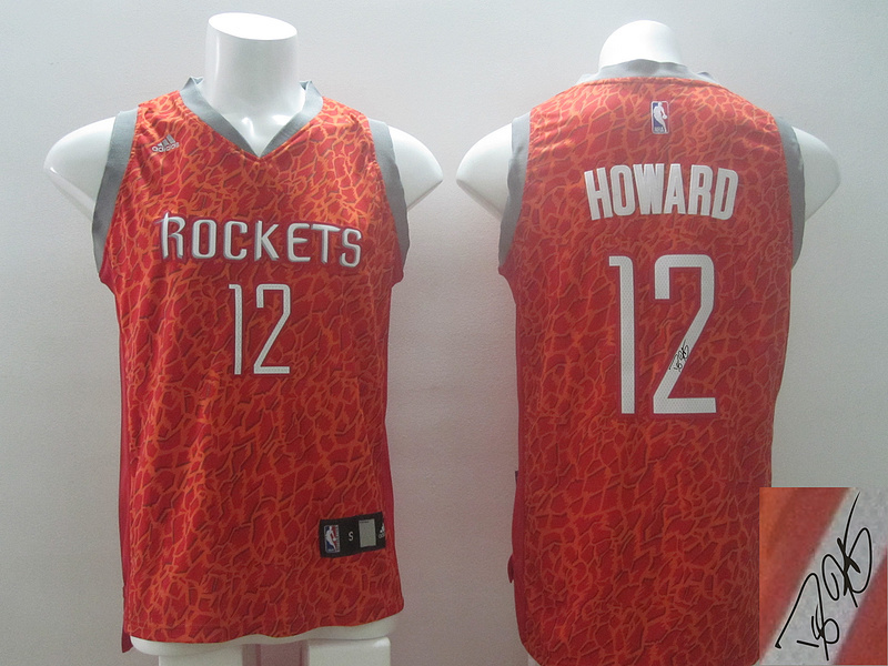 NBA Houston Rockets 12 Dwight Howard Red Crazy Light Swingman With player signed Jersey