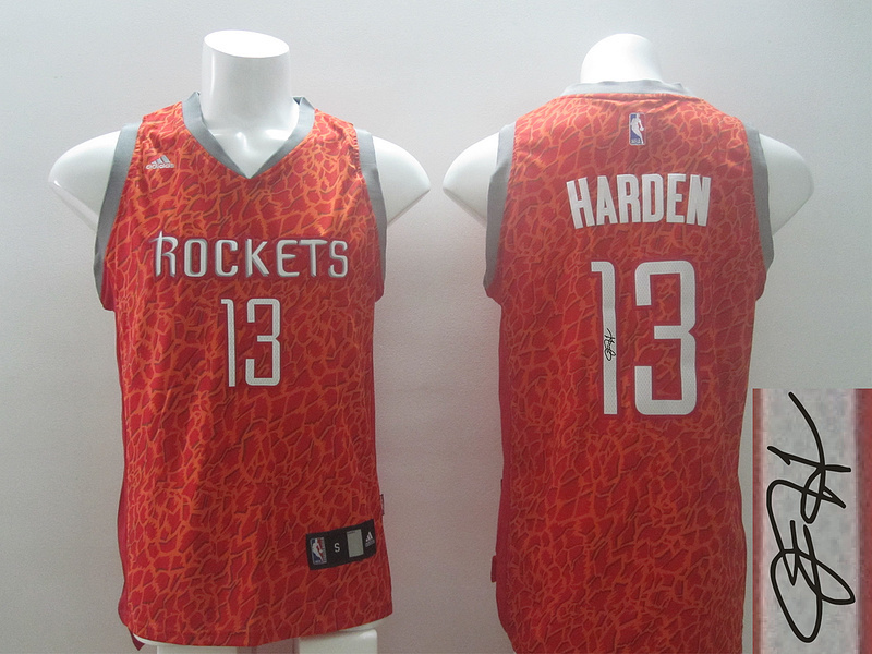 NBA Houston Rockets 13 James Harden Red Crazy Light Swingman With player signed Jersey