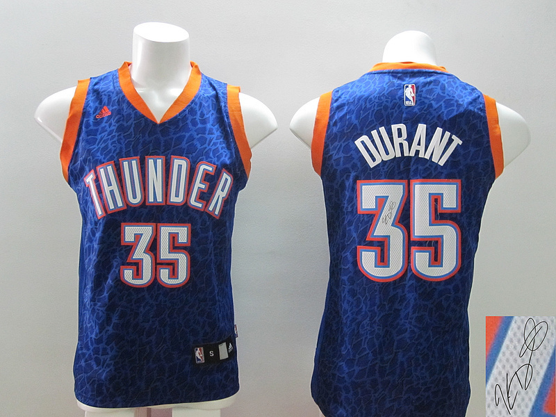 NBA Oklahoma City Thunder 35 Kevin Durant Navy Blue Crazy Light Swingman With player signed Jersey