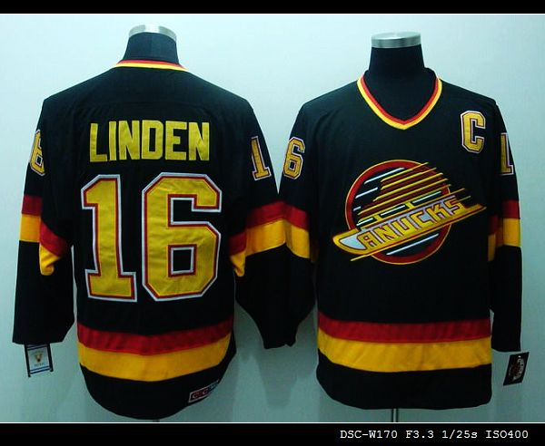 NHL Vancouver Canucks #16 Trevor Linden black CCM Throwback Jersey