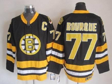 Boston Bruins #77 Bourque Black Jerseys