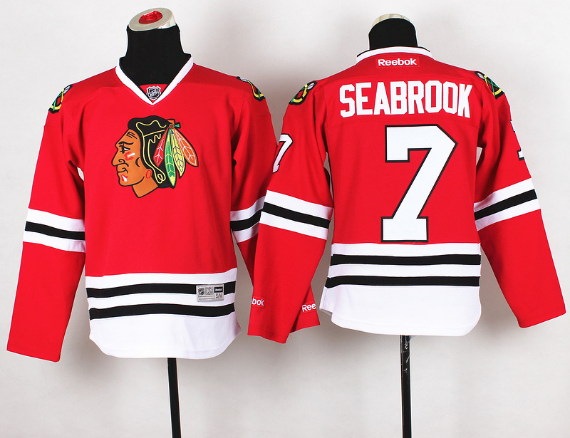 Youth NHL Chicago Blackhawks 7 Brent Seabrook Red Jerseys