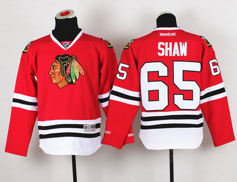 Youth NHL Chicago Blackhawks 65 Andrew Shaw Red Jerseys
