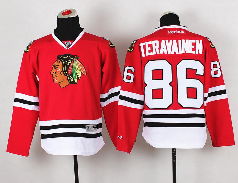 Youth NHL Chicago Blackhawks 86 Teravainen Red Jerseys