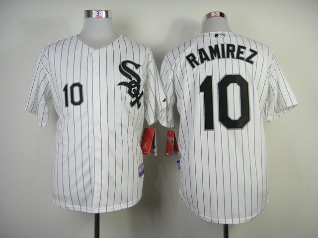 Chicago White Sox #10 Ramirez White Black Pinstripe Jersey