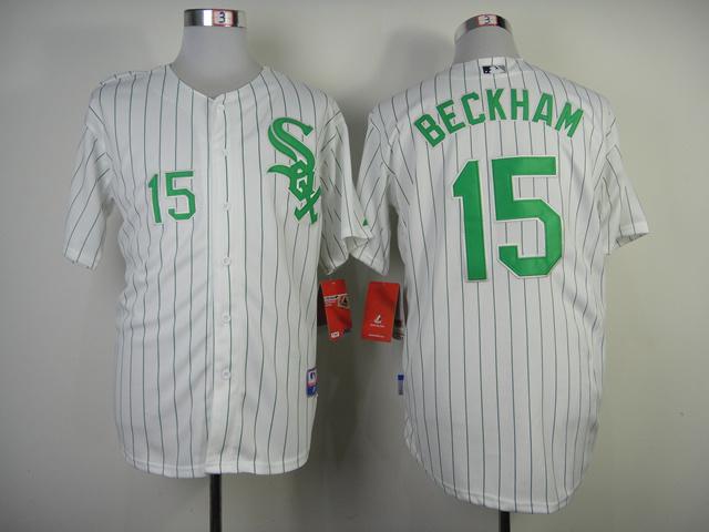 Chicago White Sox #15 Beckham White Green Pinstripe Jersey