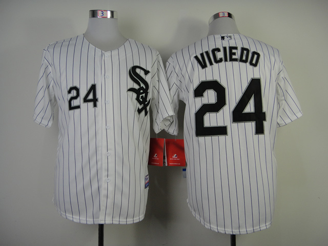 Chicago White Sox #24 Viciedo White Black Pinstripe Jersey