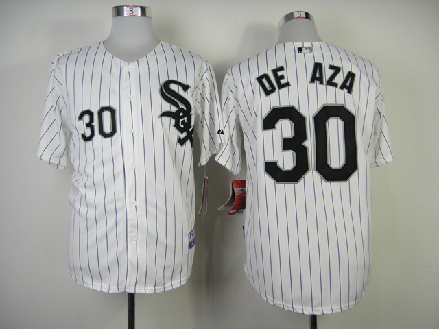 Chicago White Sox #30 Deaza White Black Pinstripe Jersey
