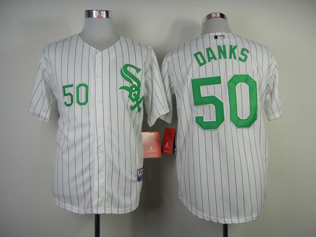 Chicago White Sox #50 Danks White Green Pinstripe Jersey