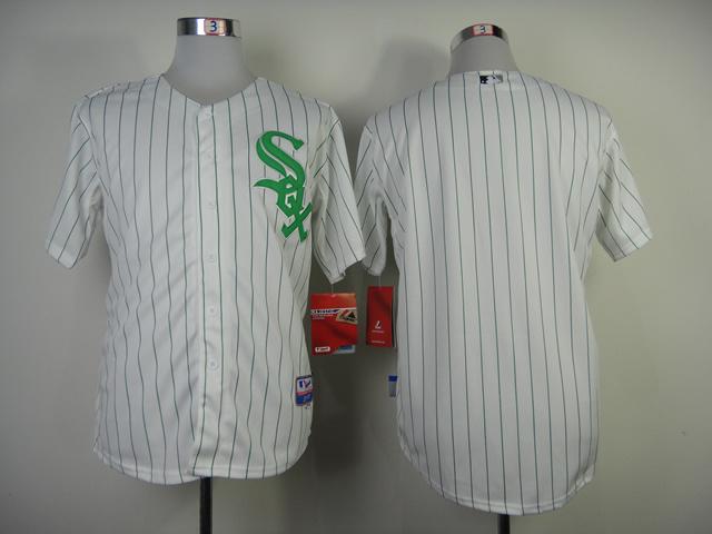 Chicago White Sox #Blank No Name White Green Pinstripe Jersey