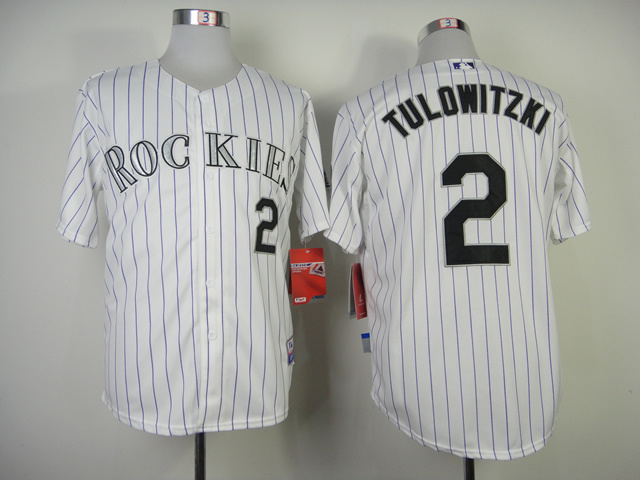 Colorado Rockies #2 Tulowitzki White Purple Pinstripe Jersey
