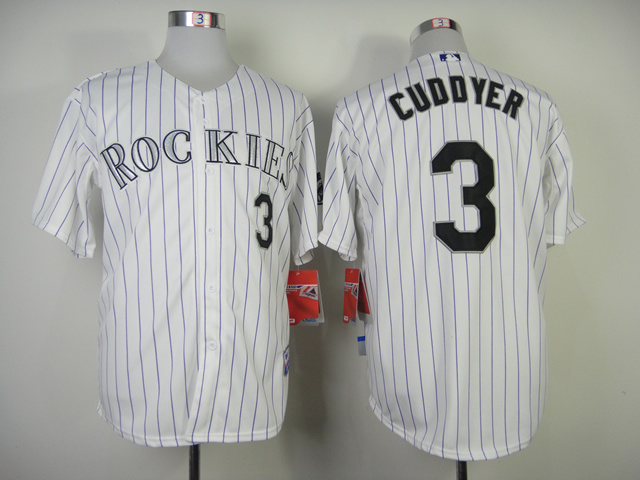Colorado Rockies #3 Cudooyer White Purple Pinstripe Jersey