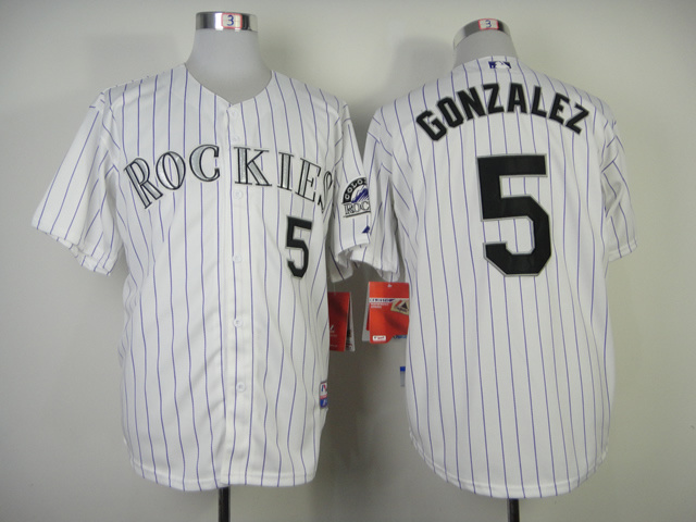 Colorado Rockies #5 Gonzalez White Purple Pinstripe Jersey