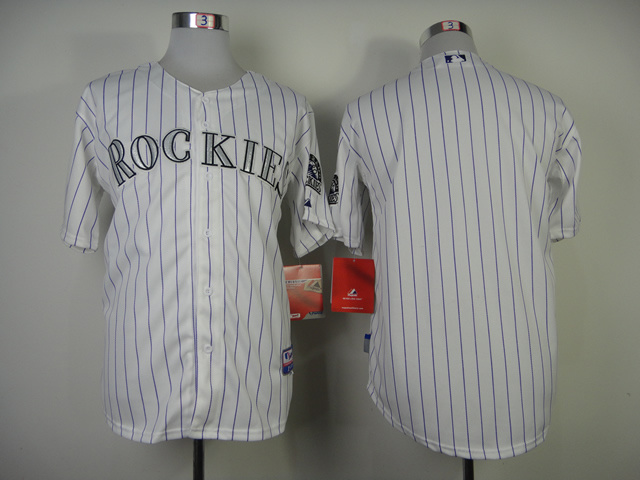 Colorado Rockies #Blank No Name White Purple Pinstripe Jersey