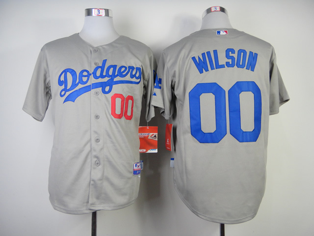 Los Angeles Dodgers #00 Wilson White Gray Cool Base jerseys