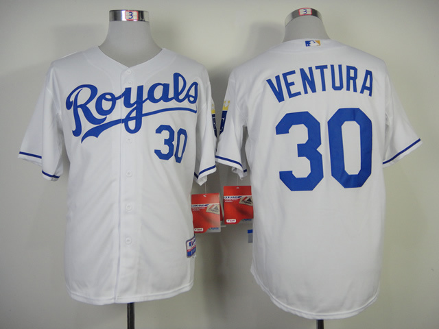 MLB Kansas City Royals #30 Ventura White Jersey