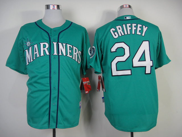 MLB Seattle Mariners #24 Griffey Green Throwback Jersey