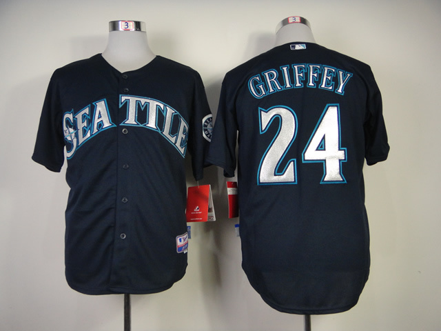 MLB Seattle Mariners #24Ken Griffey Jr.blue jerseys