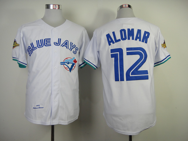 Toronto Blue Jays #12 Alomar White Throwback Jersey