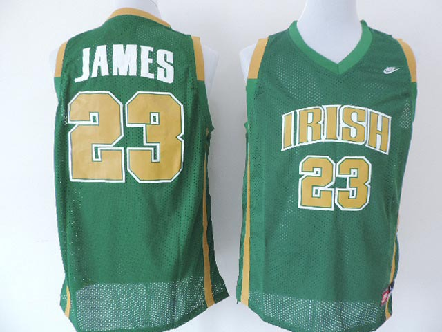 NBA Nike Fighting Irish #23 Lebron James Green Jersey